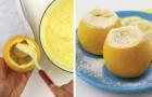 Sie füllt eine Zitrone mit Creme: nach der Garung entsteht ein Meisterwerk