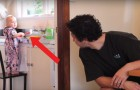 A dad gets his baby to clean the house!