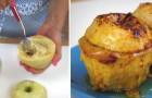 Elle vide une pomme et la farcit avec une garniture sucrée: le résultat est un vrai régal