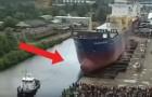 Avete mai visto il varo di una grande imbarcazione? È spaventosamente suggestivo!