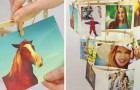 A clever idea for a hanging photo holder!
