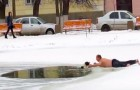 A man rescues a dog from a frozen pond!