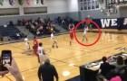 No último segundo de jogo um jogador lança a bola para a cesta: veja o que acontece!