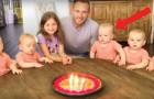 Papa va souffler ses bougies, mais regardez bien l'une des filles...