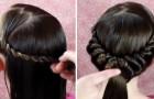 Ze verdeelt haar haren in delen en rolt deze met zorg op, met een prachtig eindresultaat!