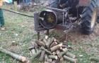 Cette machine pour couper le bois est un peu trop artisanale, mais... ça marche !