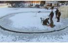 Cortan una plataforma circular en el hielo: el motivo es absolutamente genial!