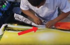 Sprayfarben, Zeitungspapier und Feuer: entdeckt das Endergebnis dieses mysteriösen Werks