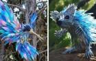 Een kunstenaar breekt cd's in kleine stukjes en maakt er dieren van. de resultaten zijn kleine topstukken