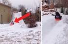 Hij besloot om een glijbaan te maken voor zijn kinderen en eindigde met een piste van 90 meter!
