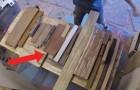 Raccoglie gli scarti del legno e ci mostra come prende vita un bellissimo oggetto per la casa