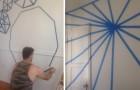 Ils recouvrent les murs avec du ruban adhésif, puis ils peignent: quand ils l'enlèvent, l'effet est magnifique