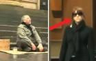 Eine Frau nähert sich dem blinden Bettler und mit nur einer Geste verändert sie seinen Tag