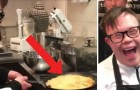 Watch out when this young fellow flips a pancake! Wow!