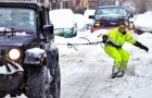 Snowboard in den Straßen New Yorks