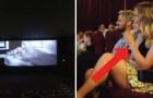 Va al cinema col fidanzato ma quando si spengono le luci inizia un