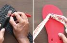 Vous portez des tongs? Voici une façon simple et originale pour éliminer le fastidieux entre-doigt en plastique