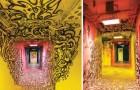 100 Straßenkünstler wurden darum gebeten, diese Schule zu verschönern kurz bevor sie renoviert werden sollte: Toller Effekt!