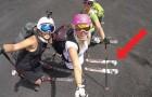 3 italienische Frauen fahren auf Skiern den Ätna hinunter: auch OHNE SCHNEE bekommt man dabei Gänsehaut