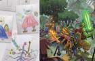 Il papà trasforma i disegni del figlio in personaggi fantastici: il risultato è magnifico