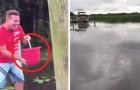 Lancia una secchiata d'acqua nel fiume: in un attimo la superficie si trasforma COMPLETAMENTE