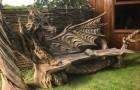 Questa incredibile panchina è stata ricavata usando la lama di una motosega