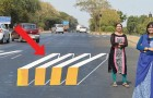 In India vertragen de 3D zebrapaden ongedisciplineerde bestuurders