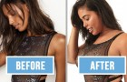 Een welgevormd model aapt de foto's na van Victoria's Secret... het resultaat spreekt voor zich