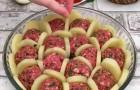 Mette le polpette e le patate nella pirofila: quando termina la cottura c'è solo da leccarsi i baffi