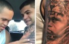 He tattoos the face of his little brother who has Down's syndrome and when he sees it is pure emotion