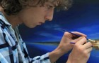 This boy has amazed thousands of people by creating beautiful two-handed paintings!