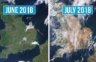 Diese Satellitenbilder zeigen uns ganze europäische Länder, die von Hitze und Trockenheit verunstaltet sind