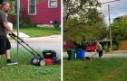 Un homme tond la pelouse de son ex-femme : quand les enfants lui demandent pourquoi, la réponse les laisse émus
