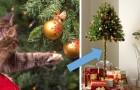 Een Engels bedrijf verkoopt halve kerstbomen voor mensen met ondeugende huisdieren