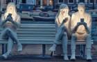 Unsere Besessenheit von Smartphones, zusammengefasst in einer einzigen mächtigen Skulptur