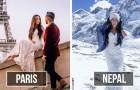 Ils visitent 33 pays en 10 mois pendant leur lune de miel : à chaque escale, la mariée porte sa robe de mariage