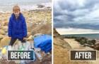 Questo bambino si reca tutti i giorni sulle spiagge della sua città per ripulirle dalla spazzatura