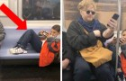 A boy refuses to take his feet off a subway seat and a stranger sits on them to teach him a lesson