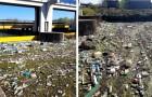 A causa della siccità il fiume Po è quasi prosciugato e il suo letto è pieno di plastica: le immagini sono drammatiche