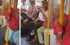 On a train, an elderly woman remains standing while young people listen to music, obsessed with their smartphones