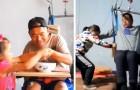 Den här 6-åriga flickan tar hand om sin pappa sedan han var med om en svår olycka som lämnade honom invalid
