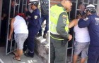 A nosey woman tries to spy on her neighbor and gets stuck in the security door gate railings for five hours!
