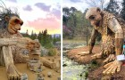 Este artista cria esculturas escondidas nos bosques para sensibilizar as pessoas sobre o tema da reciclagem