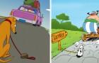 10 illustraties geïnspireerd op beroemde stripverhalen om het achterlaten van honden aan te klagen