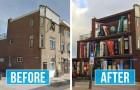Un artista dipinge sulla facciata di un palazzo un'enorme libreria con i titoli preferiti degli inquilini