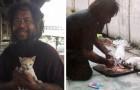 Questo senzatetto vende buste di limoni per comprare il cibo ai gatti di strada