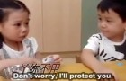 Adorable boy looks after girl on her first day of school in China