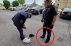 A police officer donates his shoes to a homeless man after noticing his shoes were old and worn out!