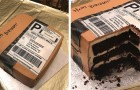 A husband gives his wife a birthday cake in the shape of her favorite object --- a giant Amazon package!