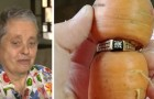 A woman had lost her engagement ring in her garden and over 60 years later it is found stuck on a carrot!